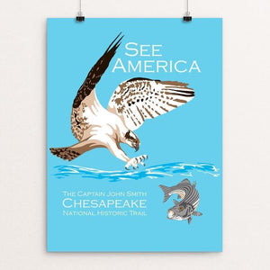 "Captain John Smith Chesapeake National Historic Trail by Candy Medusa 12"" by 16"" Print / Unframed Print See America"