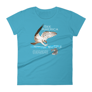 Captain John Smith Chesapeake National Historic Trail T-Shirt by Candy Medusa S / Women's / Caribbean Blue T-Shirt See America