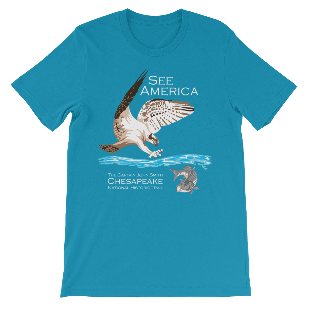 Captain John Smith Chesapeake National Historic Trail T-Shirt by Candy Medusa XS / Men's / Aqua T-Shirt See America