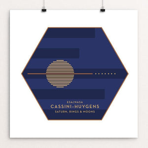 "Cassini-Huygens, NASA/ESA Mission to Saturn by Katarina Eriksson 12"" by 12"" Print / Unframed Print Space Horizons"