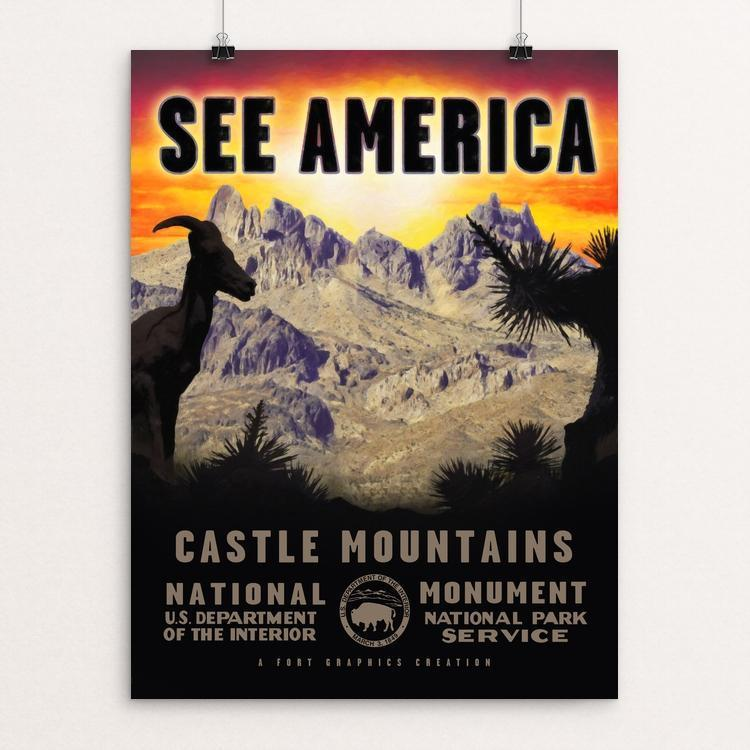 "Castle Mountains National Monument by Justin Weiss 12"" by 16"" Print / Unframed Print See America"