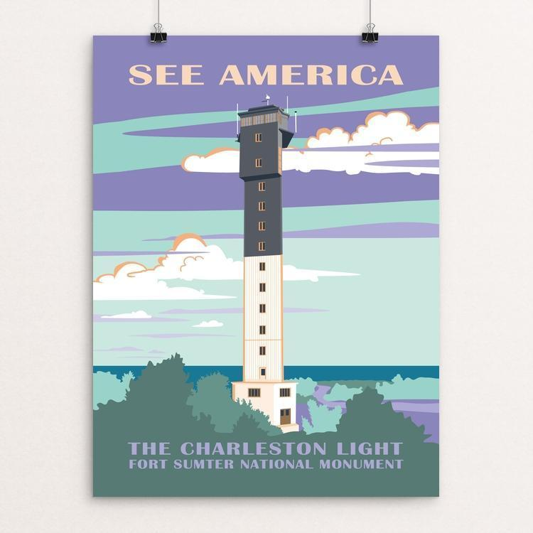 "Charleston Light, Fort Sumter National Monument by Amelia M. Spade 12"" by 16"" Print / Unframed Print See America"