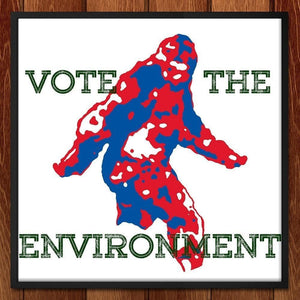 "Citizen Bigfoot by Scott Petrisko 12"" by 12"" Print / Framed Print Vote the Environment"