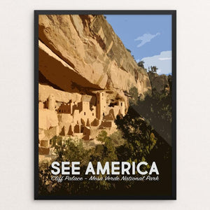 "Cliff Palace, Mesa Verde National Park by Mary Stasilli 12"" by 16"" Print / Framed Print See America"