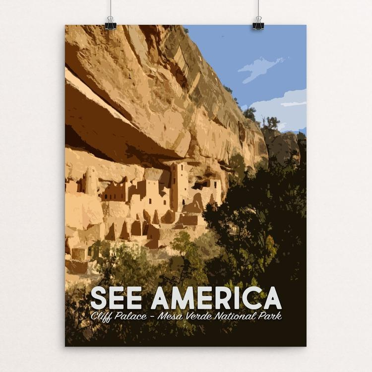 "Cliff Palace, Mesa Verde National Park by Mary Stasilli 12"" by 16"" Print / Unframed Print See America"