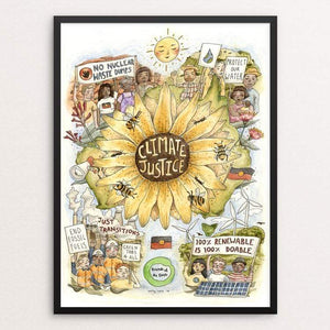 "Climate Justice by Emily Cork 18"" by 24"" Print / Framed Print Green New Deal"