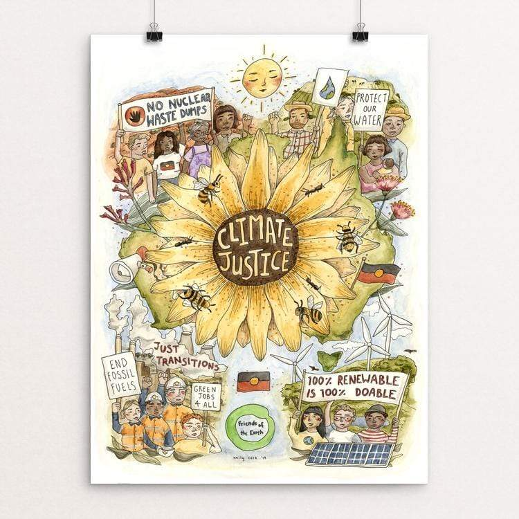 "Climate Justice by Emily Cork 18"" by 24"" Print / Unframed Print Green New Deal"