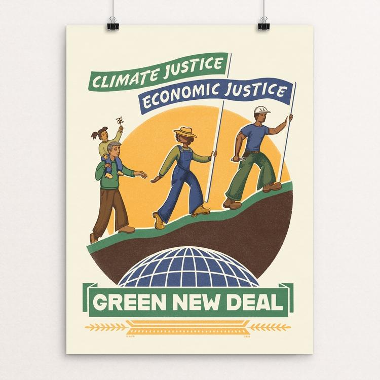 "Climate Justice is Economic Justice by Kate Leib 18"" by 24"" Print / Unframed Print Green New Deal"