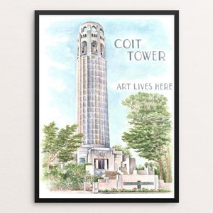 "Coit Tower by Elizabeth Kennen 12"" by 16"" Print / Framed Print Art Lives Here"