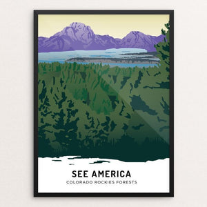 "Colorado Rockies Forests by Emily Kelley 12"" by 16"" Print / Framed Print See America"