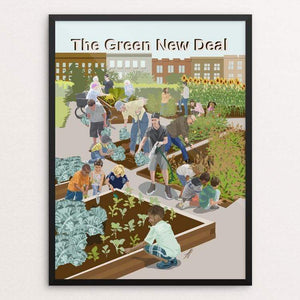 "Community Gardens by Lyla Paakkanen 18"" by 24"" Print / Framed Print Green New Deal"
