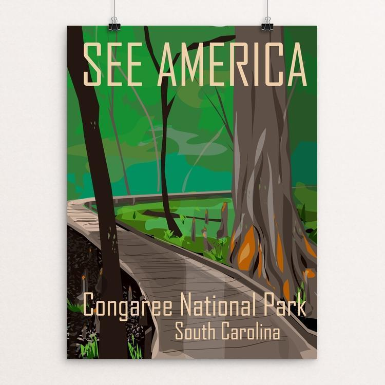 "Congaree National Park by Kara Gunter 12"" by 16"" Print / Unframed Print See America"