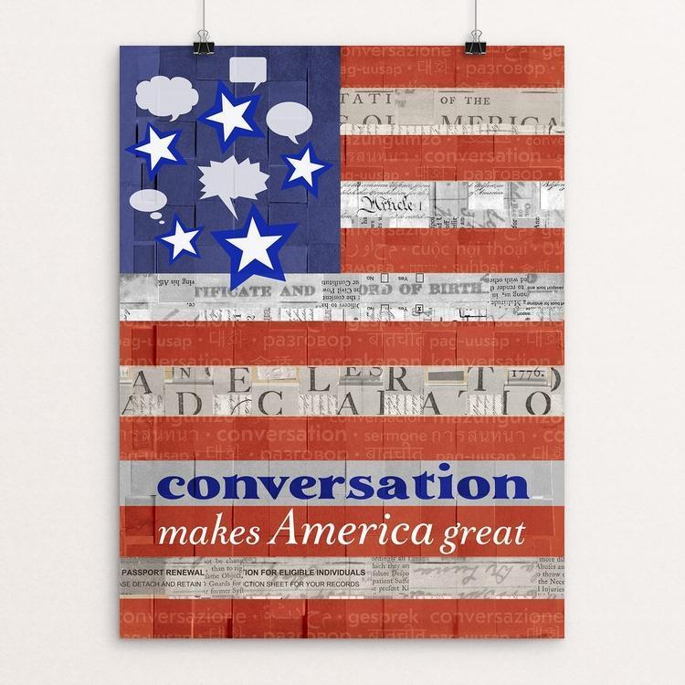 "Conversation by Elizabeth DeLuna 12"" by 16"" Print / Unframed Print What Makes America Great"