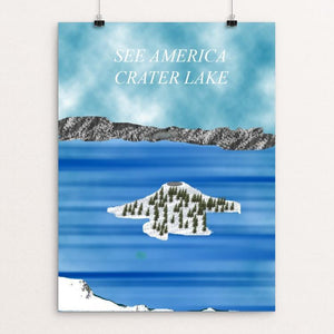 "Crater Lake by Alex Grimes 12"" by 16"" Print / Unframed Print See America"
