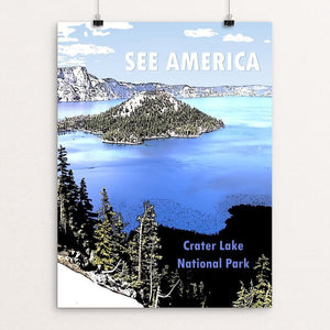 "Crater Lake National Park by Marcia Brandes 12"" by 16"" Print / Unframed Print See America"