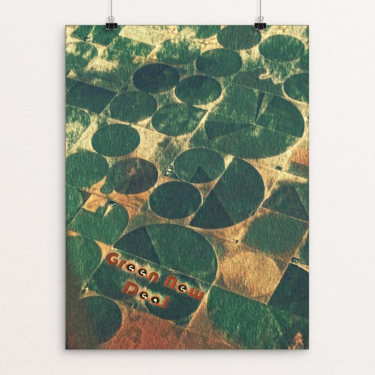 "Crop Circles by Bryan Bromstrup 18"" by 24"" Print / Unframed Print Green New Deal"