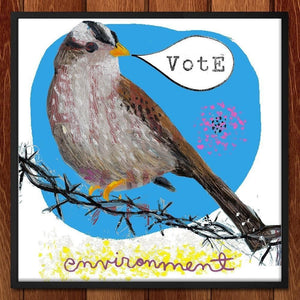 "Crowned Sparrow Vote by Dianne Bennett 12"" by 12"" Print / Framed Print Vote the Environment"