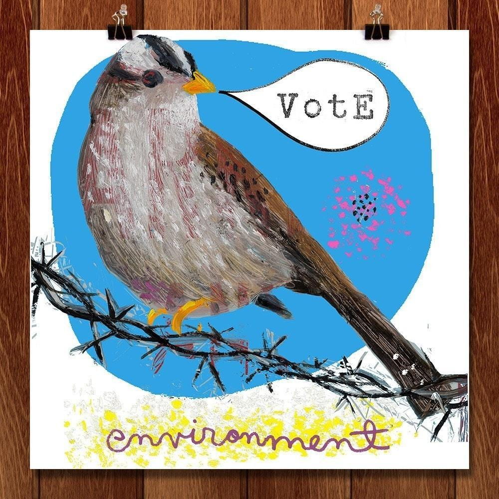 "Crowned Sparrow Vote by Dianne Bennett 12"" by 12"" Print / Unframed Print Vote the Environment"