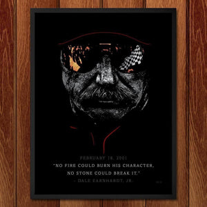 "Dale Earnhardt, The Man in Black or ""The Intimidator"" by Shane Henderson 18"" by 24"" Print / Framed Print Transcend - Moments in Sports that Changed the Game"
