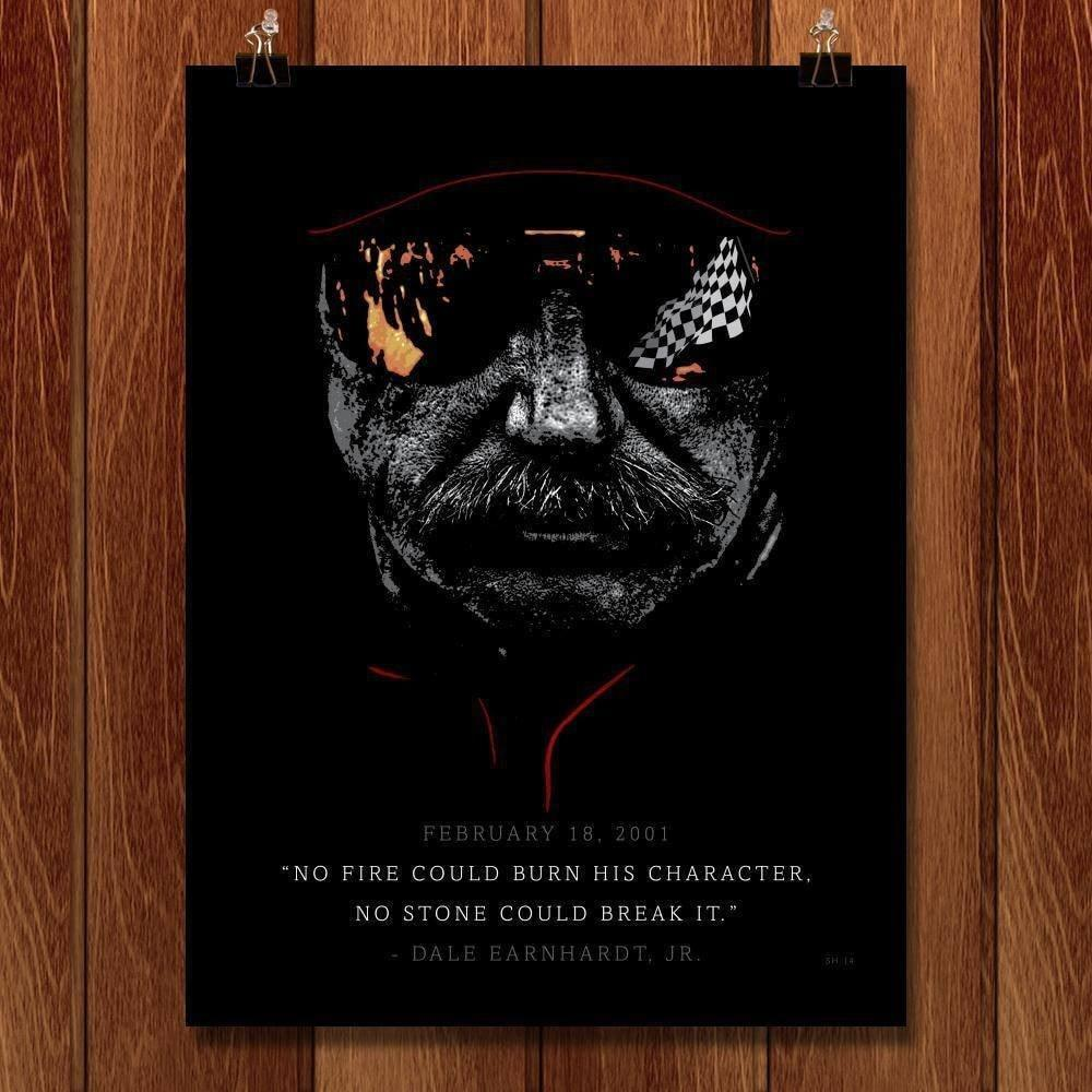 "Dale Earnhardt, The Man in Black or ""The Intimidator"" by Shane Henderson 18"" by 24"" Print / Unframed Print Transcend - Moments in Sports that Changed the Game"