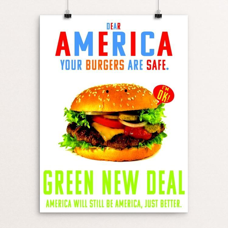 "Dear America by Atabey Sanchez-Haiman 12"" by 16"" Print / Unframed Print Green New Deal"