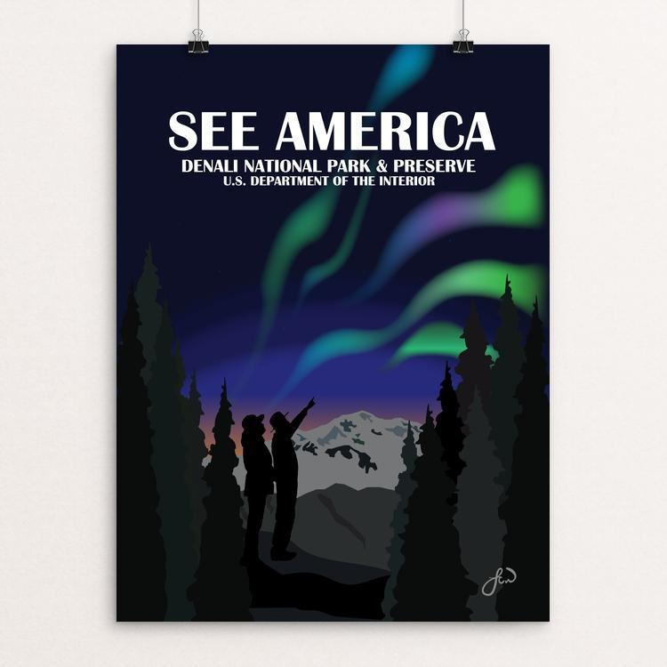 "Denali National Park Aurora Borealis by Laura Whitelock 12"" by 16"" Print / Unframed Print See America"