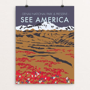"Denali National Park by Jenn Woodham 18"" by 24"" Print / Unframed Print See America"
