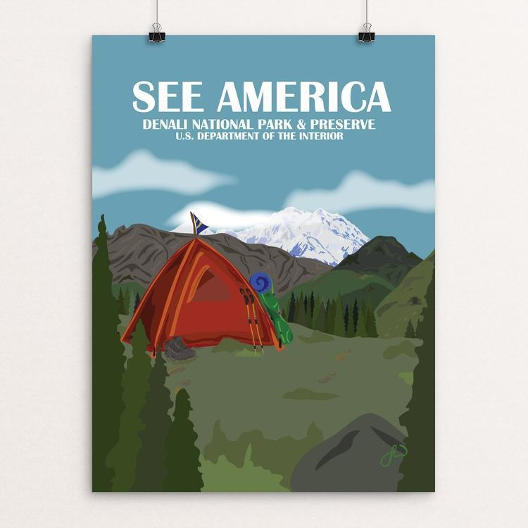 "Denali National Park Camping by Laura Whitelock 12"" by 16"" Print / Unframed Print See America"
