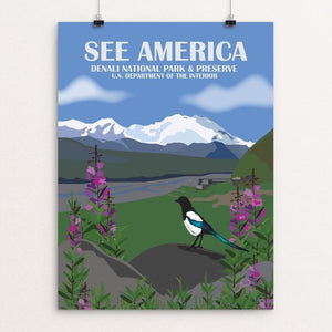 "Denali National Park From Eielson Visitor Center by Laura Whitelock 12"" by 16"" Print / Unframed Print See America"