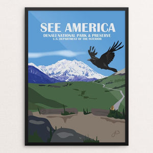 "Denali National Park  From Stony Hill Overlook by Laura Whitelock 12"" by 16"" Print / Framed Print See America"