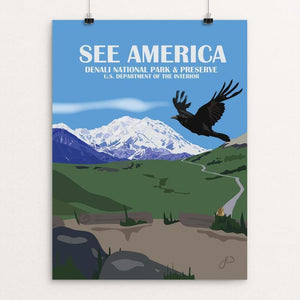 "Denali National Park  From Stony Hill Overlook by Laura Whitelock 12"" by 16"" Print / Unframed Print See America"