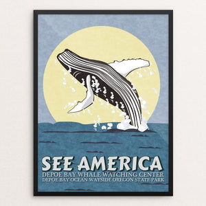 "Depoe Bay Whale Watching Center by E. Michelle Peterson 12"" by 16"" Print / Framed Print See America"