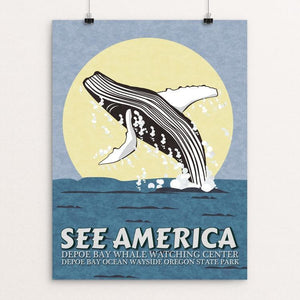 "Depoe Bay Whale Watching Center by E. Michelle Peterson 12"" by 16"" Print / Unframed Print See America"