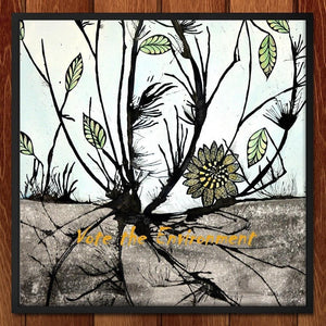 "Desolate Sunflower by Laura Hendrix 12"" by 12"" Print / Framed Print Vote the Environment"