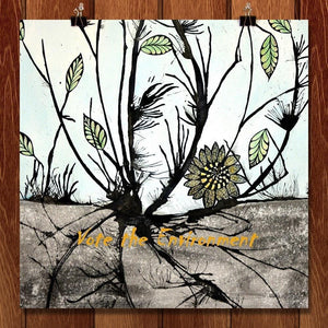 "Desolate Sunflower by Laura Hendrix 12"" by 12"" Print / Unframed Print Vote the Environment"