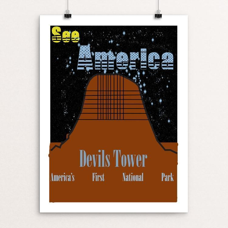 "Devils Tower by Miles Greene 18"" by 24"" Print / Unframed Print See America"
