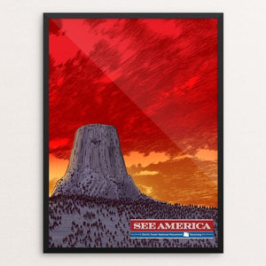 "Devils Tower National Monument by Brixton Doyle 12"" by 16"" Print / Framed Print See America"