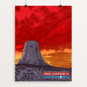 "Devils Tower National Monument by Brixton Doyle 12"" by 16"" Print / Unframed Print See America"