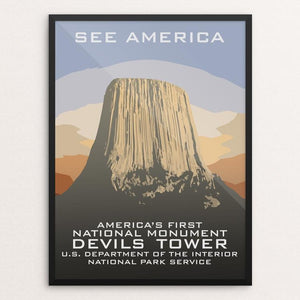 "Devils Tower National Monument by Chad Snoke 12"" by 16"" Print / Framed Print See America"