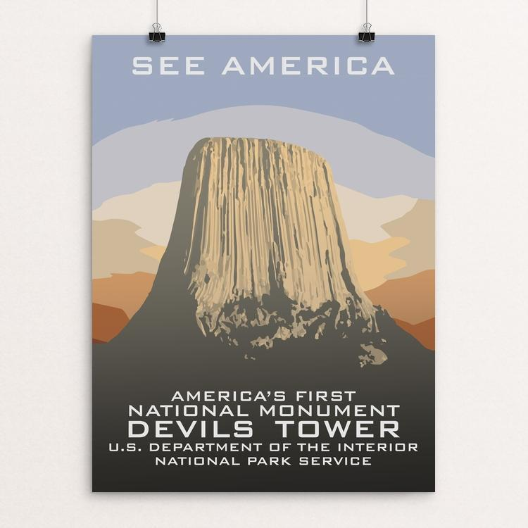 "Devils Tower National Monument by Chad Snoke 12"" by 16"" Print / Unframed Print See America"