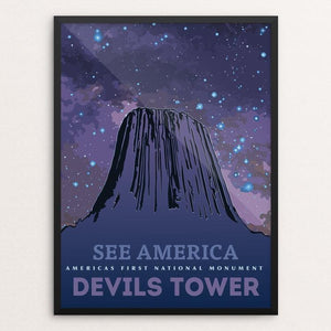 "Devils Tower National Monument by Eric Roche 18"" by 24"" Print / Framed Print See America"