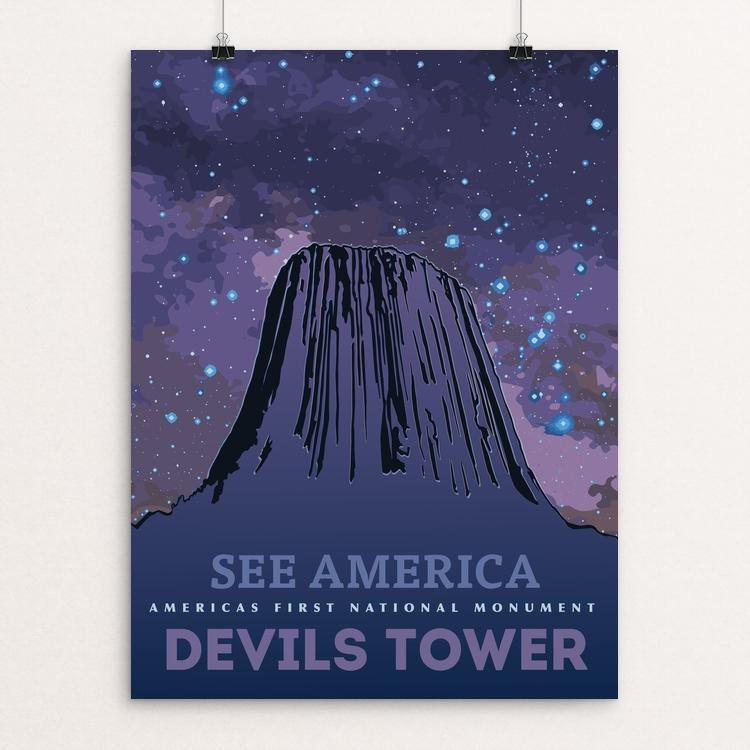 "Devils Tower National Monument by Eric Roche 18"" by 24"" Print / Unframed Print See America"