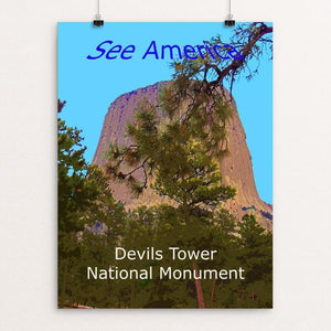 "Devils Tower National Monument by Rodney Buxton 12"" by 16"" Print / Unframed Print See America"