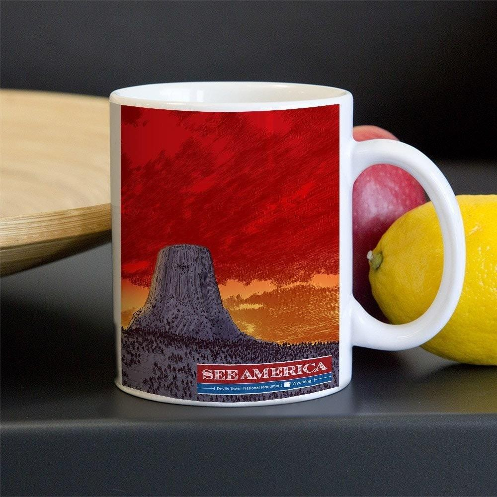 Devils Tower National Monument Mug by Brixton Doyle 11oz Mug See America
