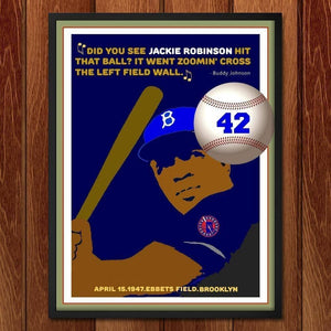 "Did you see Jackie Robinson hit that Ball? by Bob Rubin 18"" by 24"" Print / Framed Print Transcend - Moments in Sports that Changed the Game"