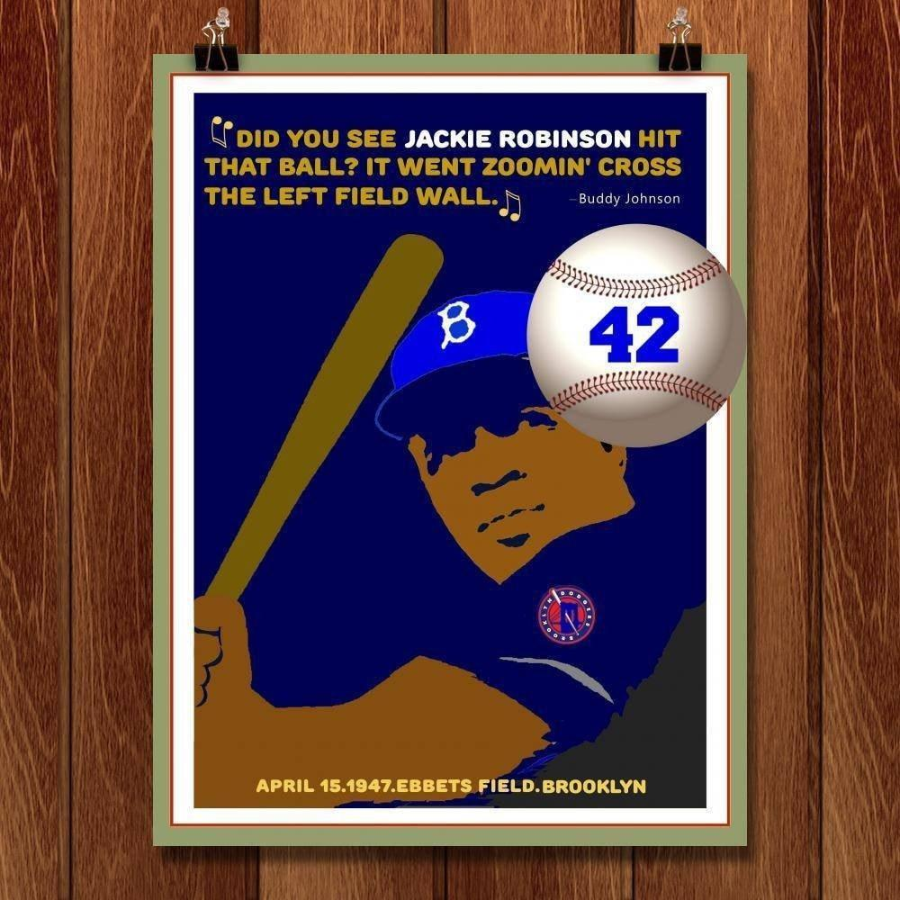 "Did you see Jackie Robinson hit that Ball? by Bob Rubin 18"" by 24"" Print / Unframed Print Transcend - Moments in Sports that Changed the Game"