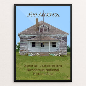 "District No. 1 School Building, Nicodemus National Historic Site by Rodney Buxton 12"" by 16"" Print / Framed Print See America"