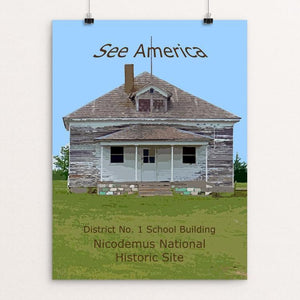 "District No. 1 School Building, Nicodemus National Historic Site by Rodney Buxton 12"" by 16"" Print / Unframed Print See America"