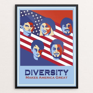 "Diversity by Juan Miranda 12"" by 16"" Print / Framed Print What Makes America Great"