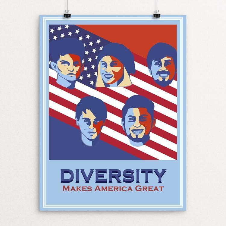 "Diversity by Juan Miranda 12"" by 16"" Print / Unframed Print What Makes America Great"